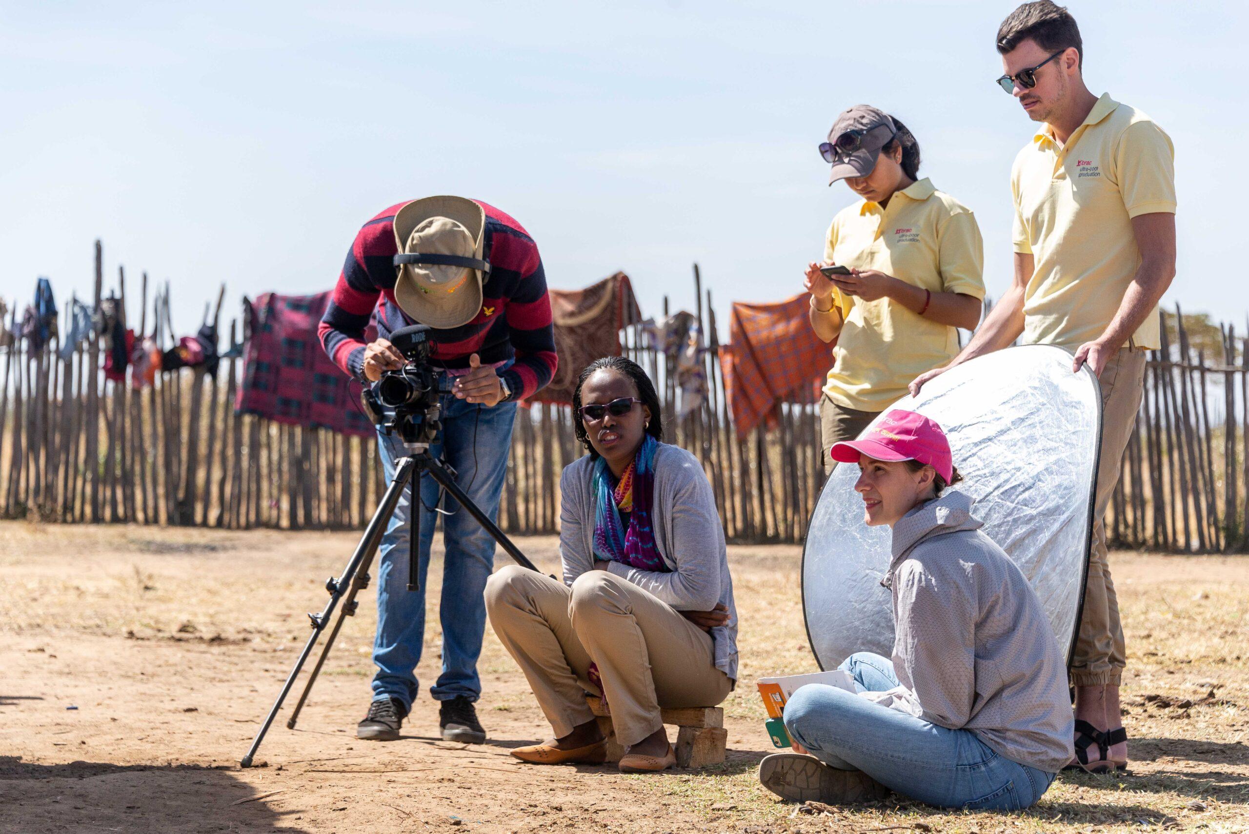 BRAC staff in the field on a phootshoot in Kenya
