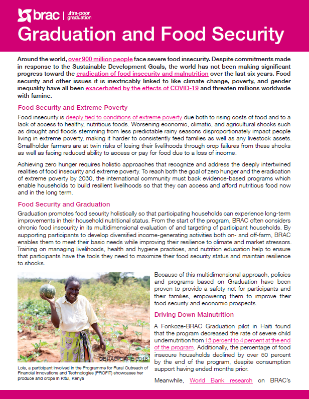 Brief on how BRAC's Graduation approach contributes to food security